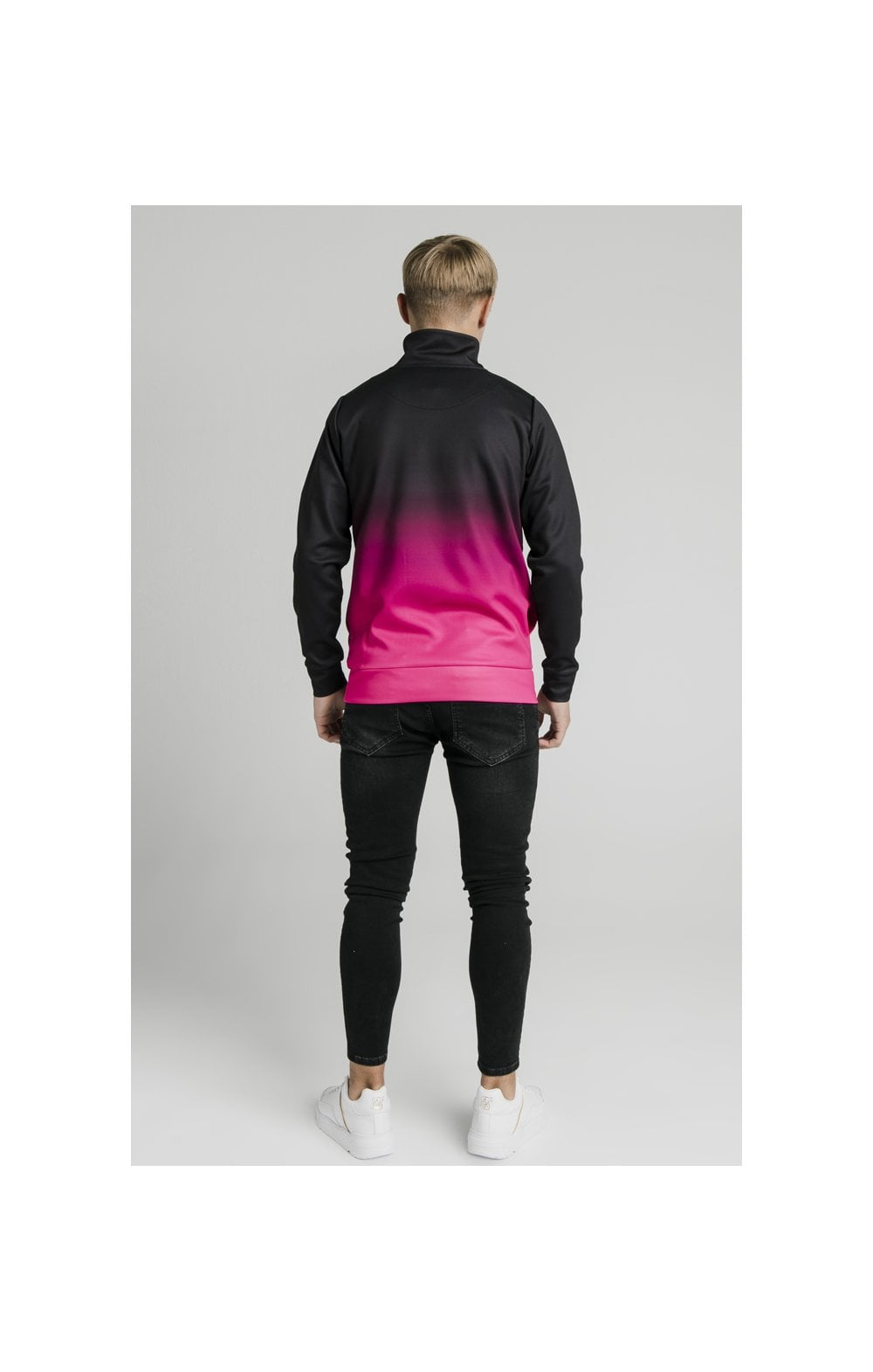 Illusive London Funnel Neck 1/4 Zip Hoodie - Black & Pink (6)