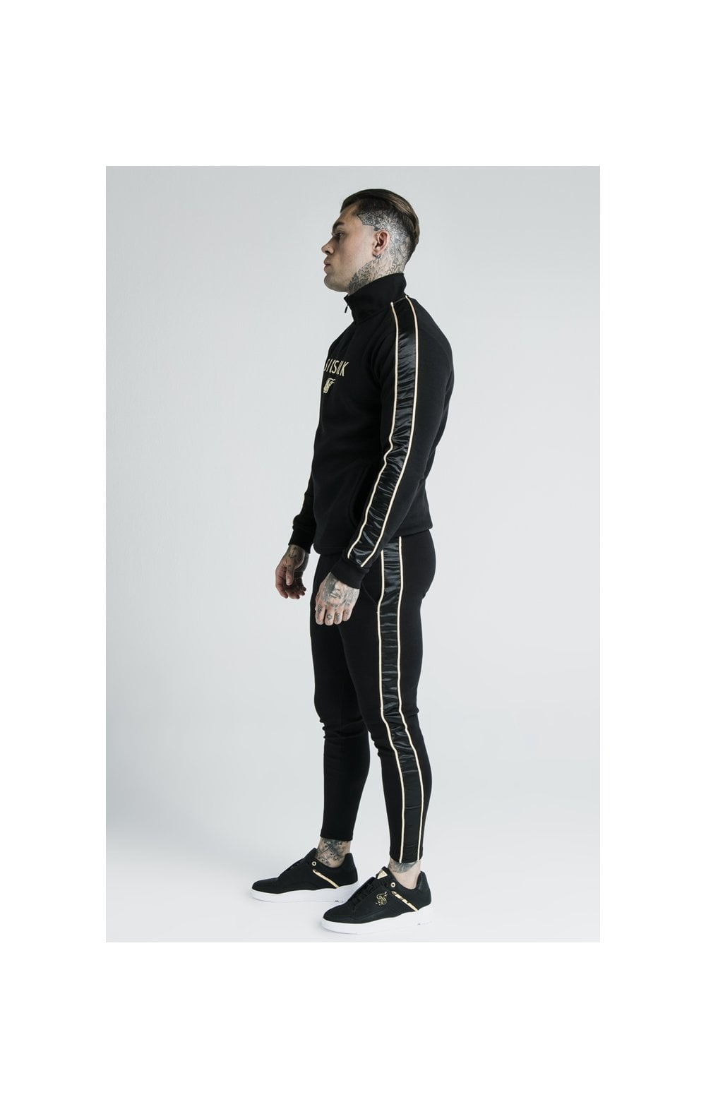 Load image into Gallery viewer, SikSilk x Dani Alves Quarter Zip Rope Track Top – Black (5)