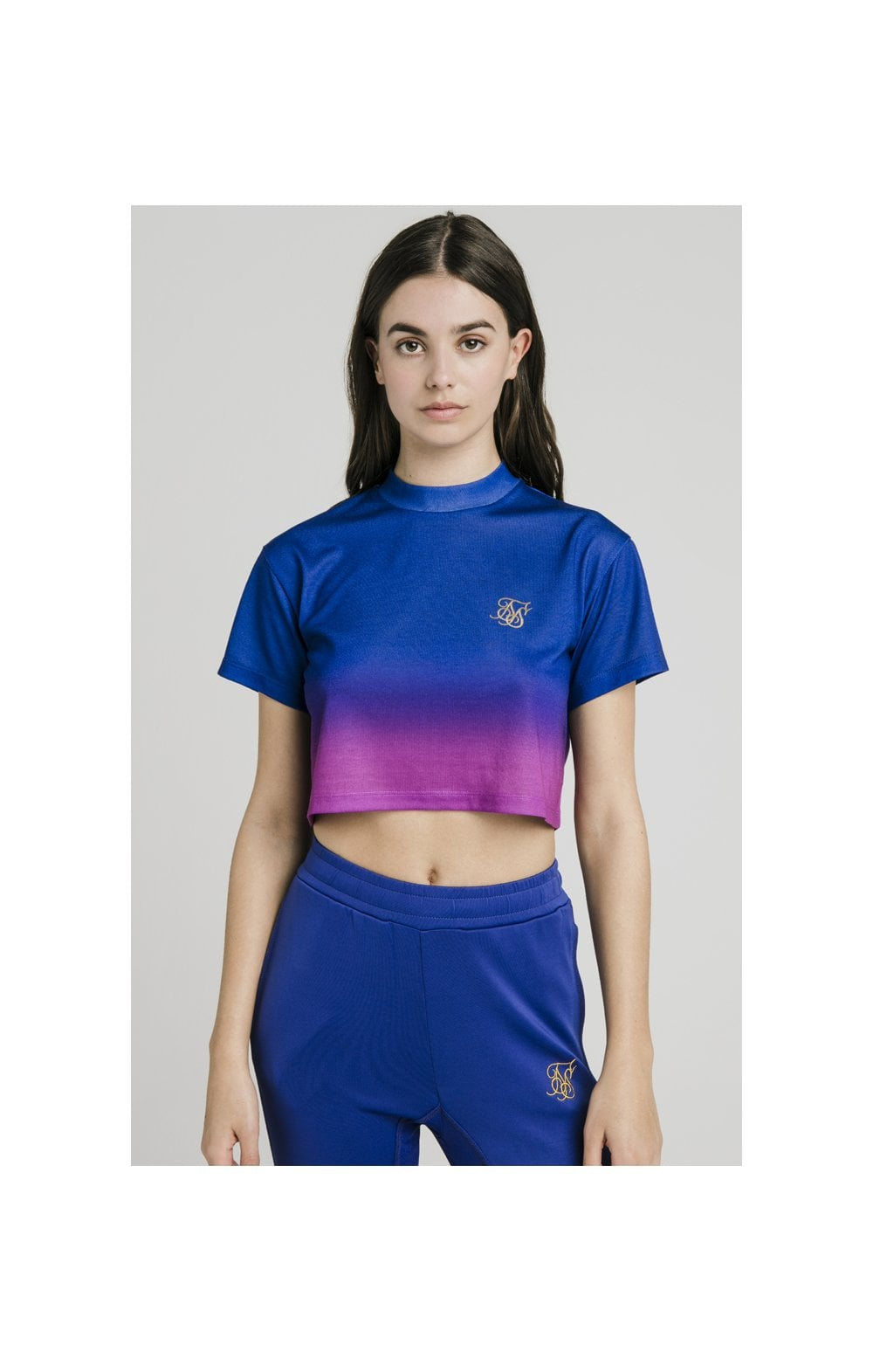 Load image into Gallery viewer, SikSilk Fade Crop Tee – Blue & Rose (1)