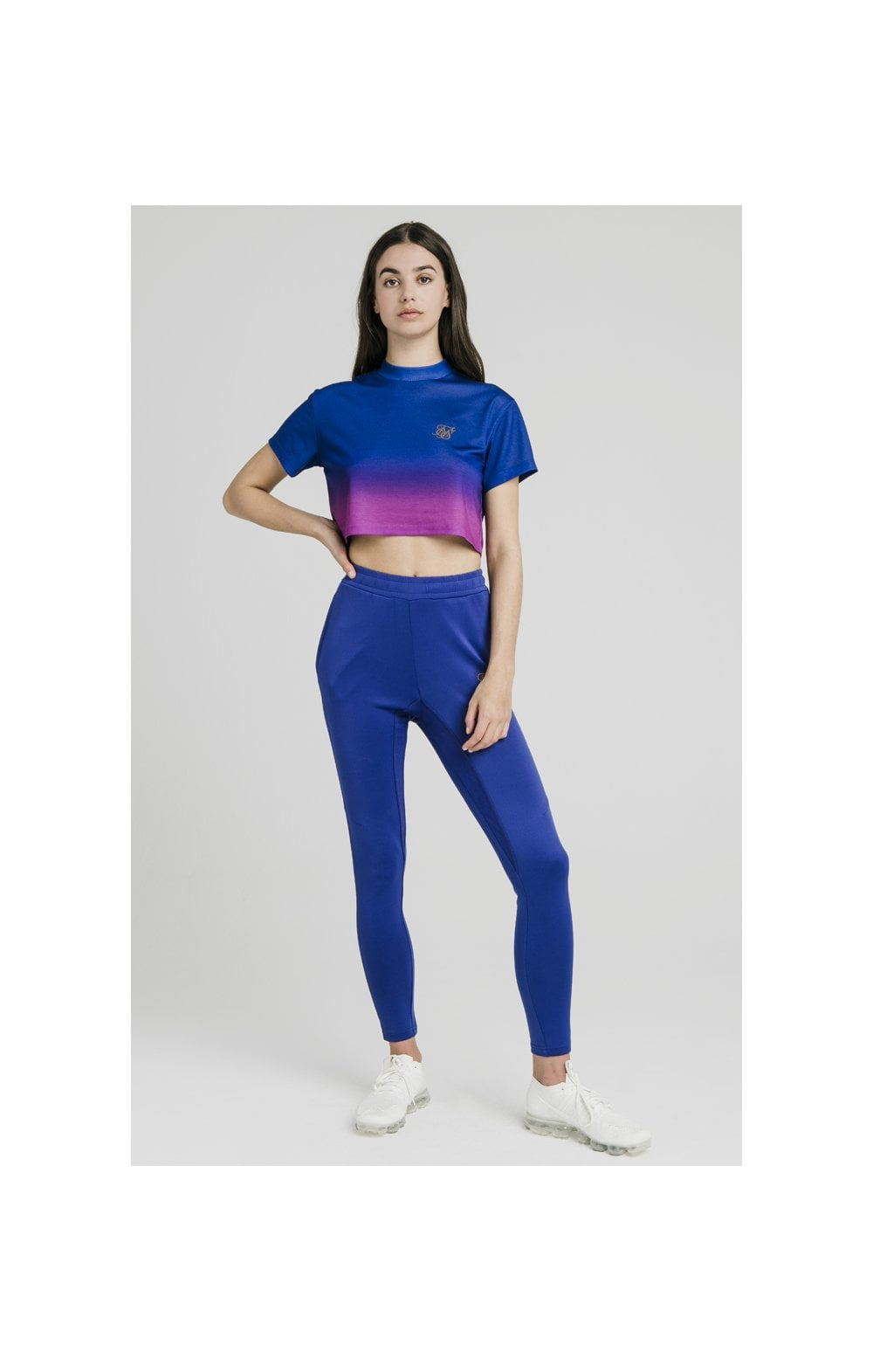 Load image into Gallery viewer, SikSilk Fade Crop Tee – Blue & Rose (3)