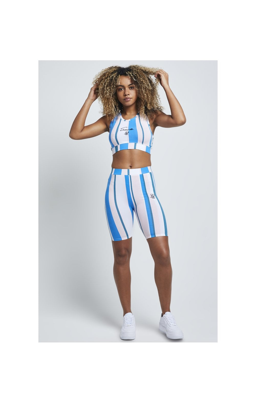 Load image into Gallery viewer, SikSilk 90's Stripe Bralette - Rotary Stripe (2)
