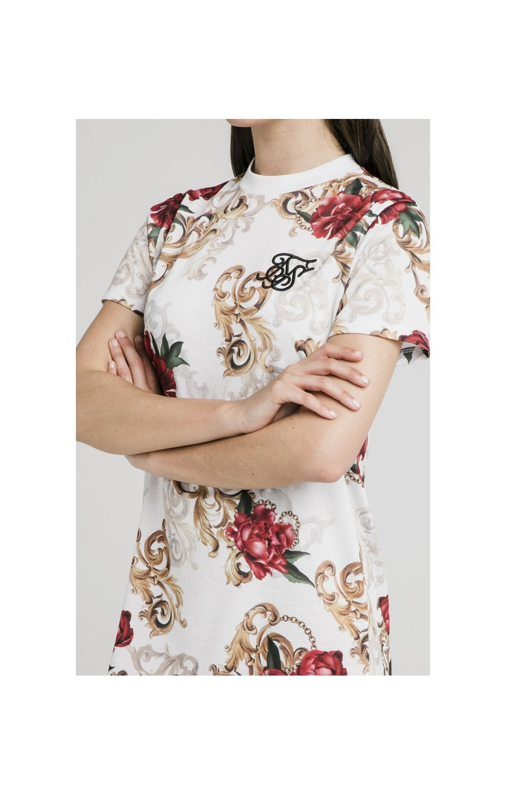 SikSilk T-Shirt Dress - White & Floral Elegance