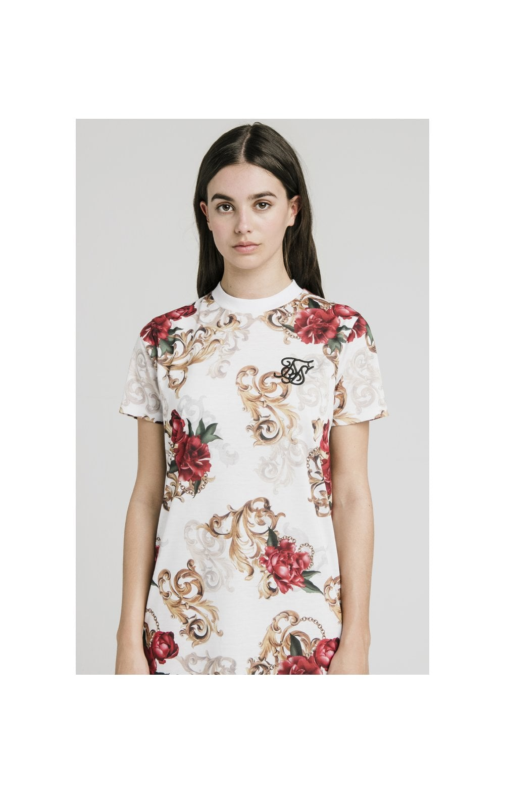SikSilk T-Shirt Dress - White & Floral Elegance (1)