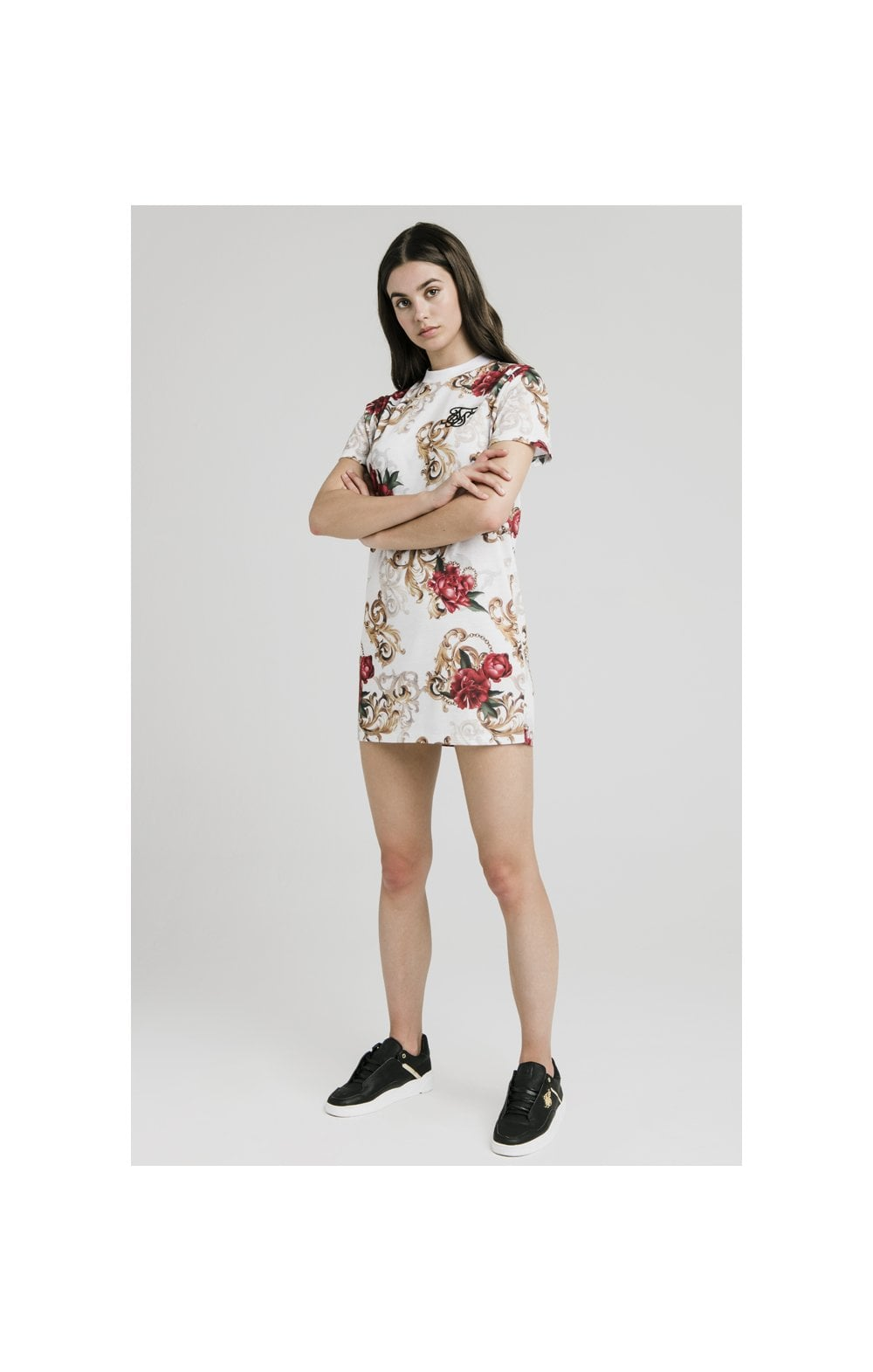 SikSilk T-Shirt Dress - White & Floral Elegance (2)