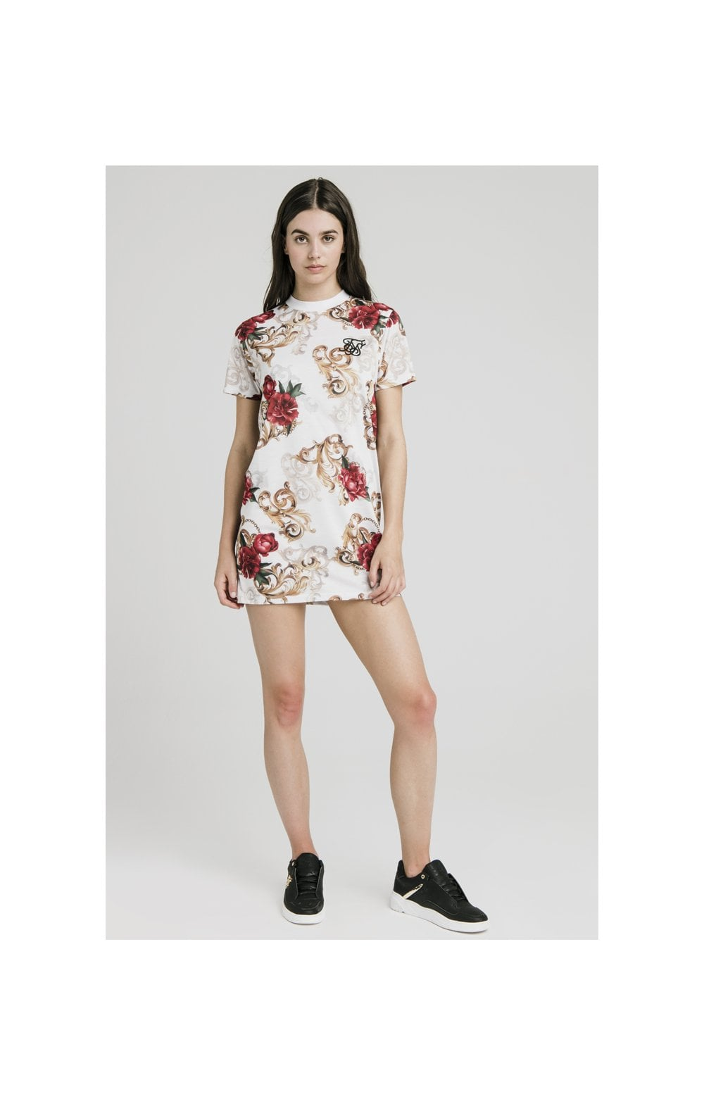 SikSilk T-Shirt Dress - White & Floral Elegance (3)