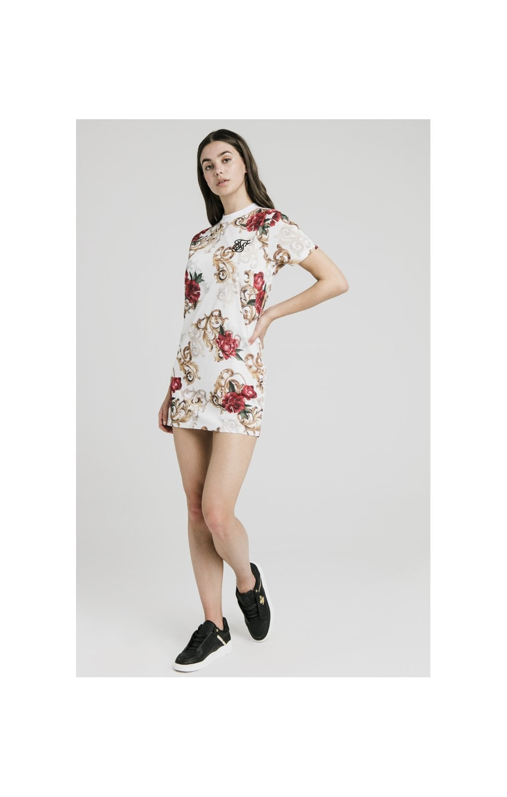 SikSilk T-Shirt Dress - White & Floral Elegance (4)