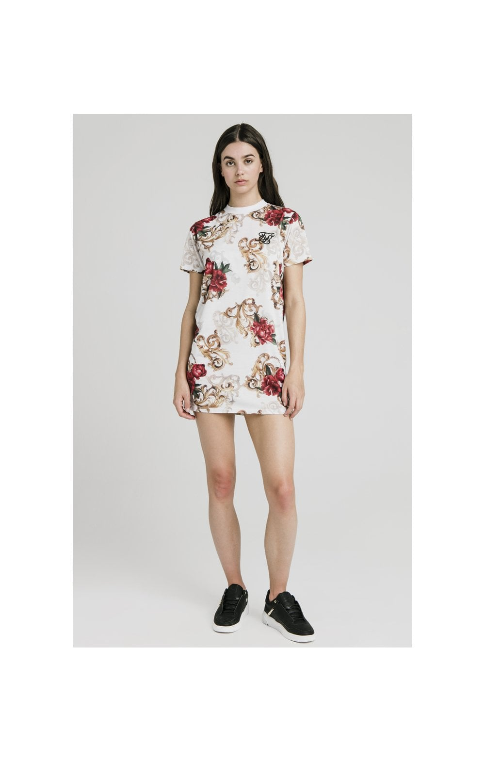 SikSilk T-Shirt Dress - White & Floral Elegance (5)