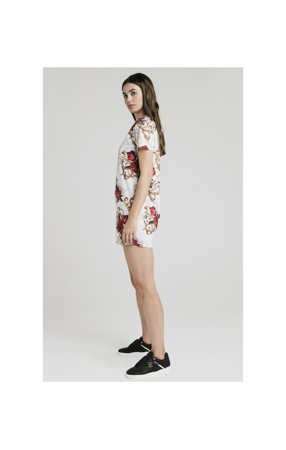 SikSilk T-Shirt Dress - White & Floral Elegance (6)