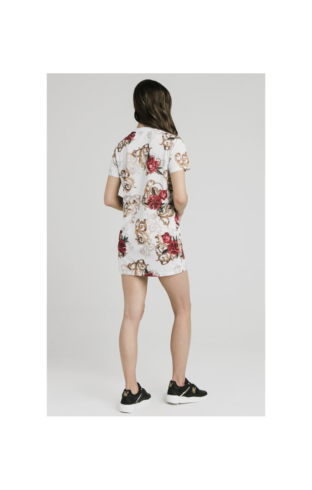 SikSilk T-Shirt Dress - White & Floral Elegance (7)