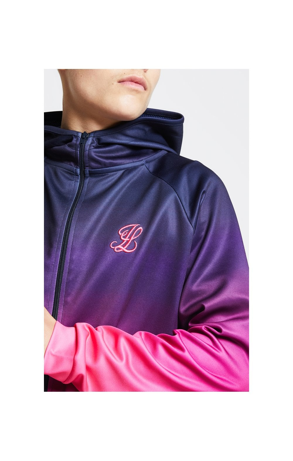 Illusive London Athlete Zip Through Fade Hoodie – Navy & Neon Pink