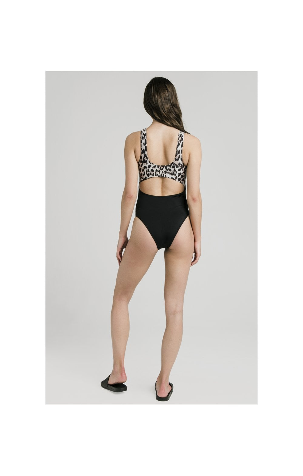Load image into Gallery viewer, SikSilk Cut Out Swimsuit – Black & Leopard (4)