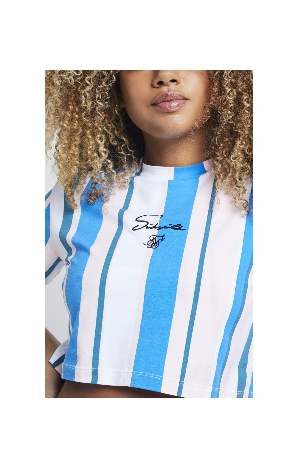 Load image into Gallery viewer, SikSilk 90's Stripe Crop T-Shirt – Rotary Stripe (1)