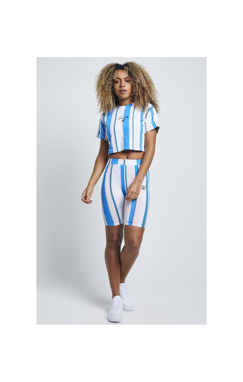Load image into Gallery viewer, SikSilk 90's Stripe Crop T-Shirt – Rotary Stripe (3)