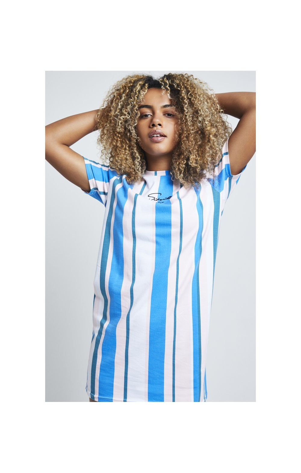 Load image into Gallery viewer, SikSilk 90's Stripe T-Shirt Dress - Rotary Stripe