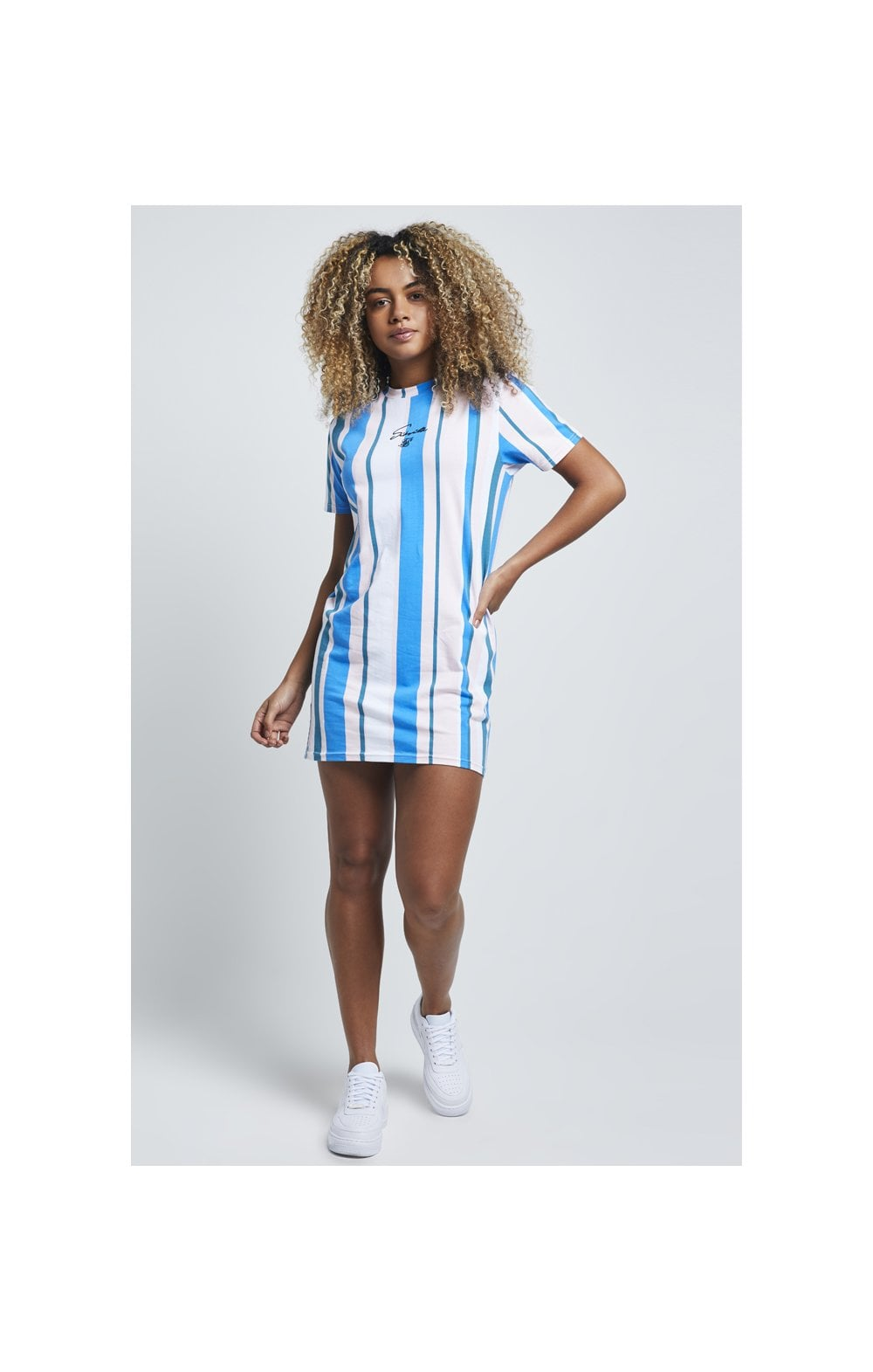 Load image into Gallery viewer, SikSilk 90's Stripe T-Shirt Dress - Rotary Stripe (2)