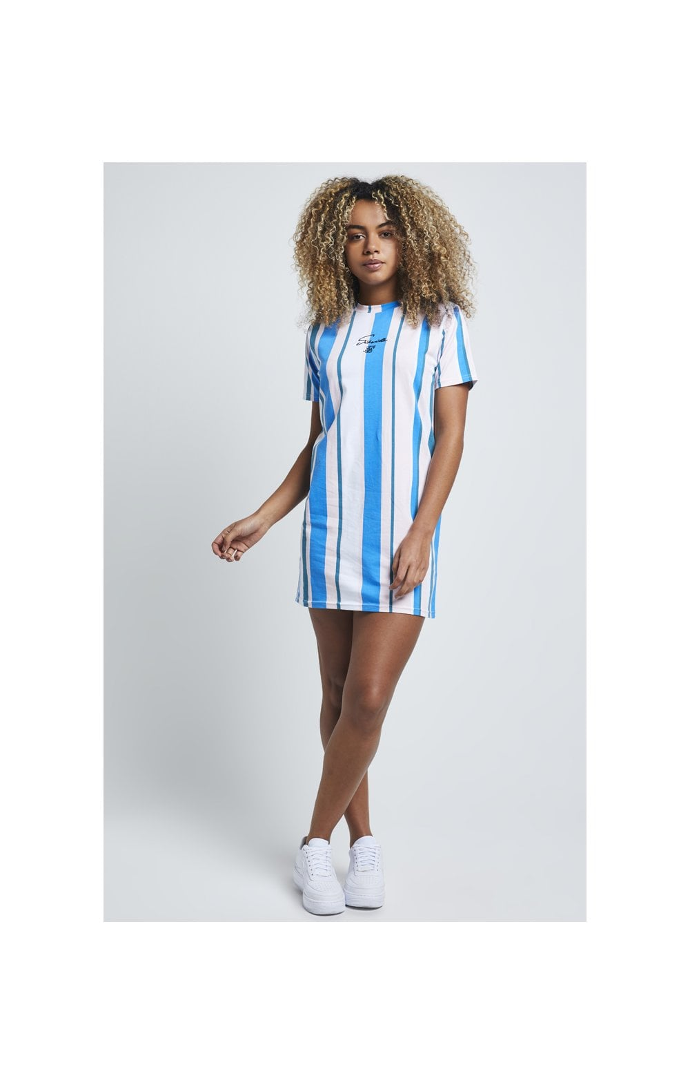 Load image into Gallery viewer, SikSilk 90's Stripe T-Shirt Dress - Rotary Stripe (3)
