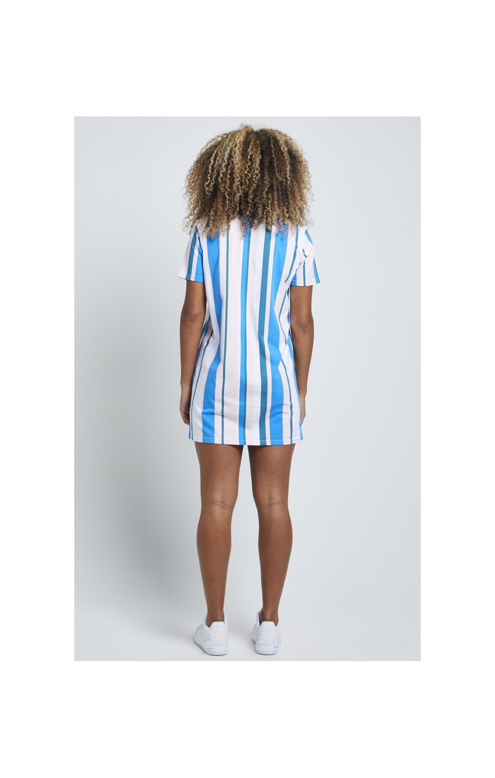 Load image into Gallery viewer, SikSilk 90's Stripe T-Shirt Dress - Rotary Stripe (4)