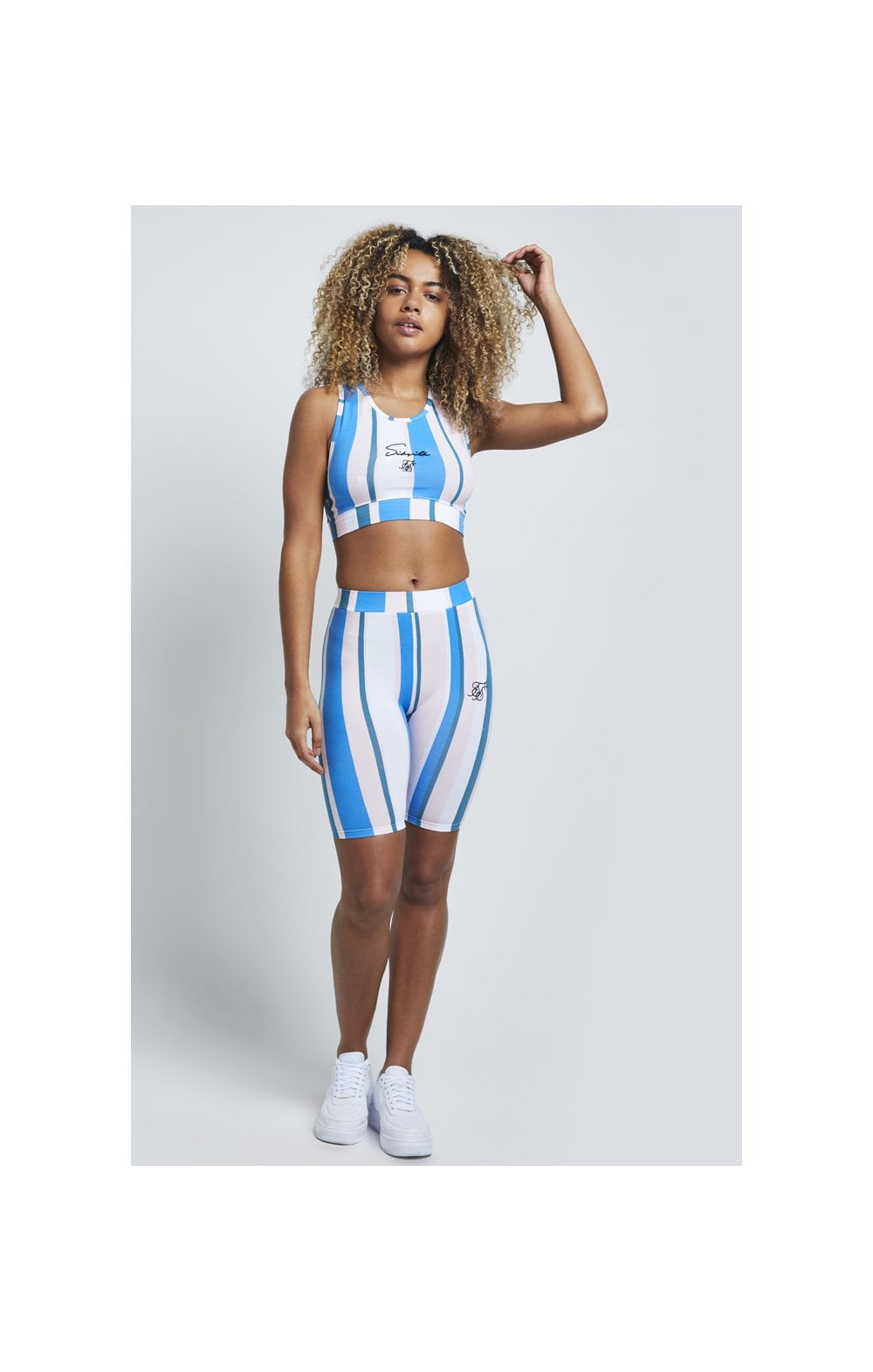 SikSilk 90's Stripe Cycle Shorts - Rotary Stripe (2)