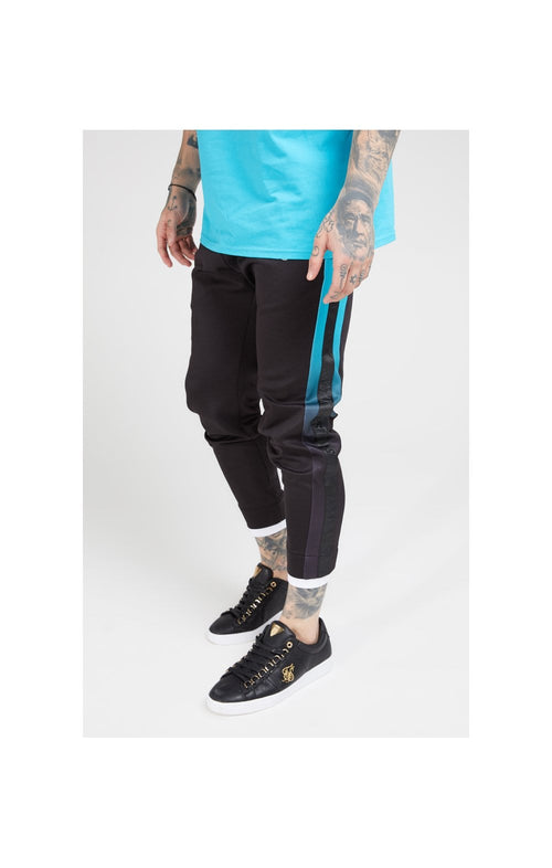 SikSilk Fitted Tape Track Pants – Black & Teal