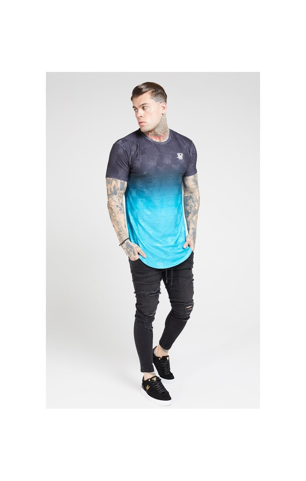 SikSilk Monogram Fade Gym Tee – Black & Teal (2)