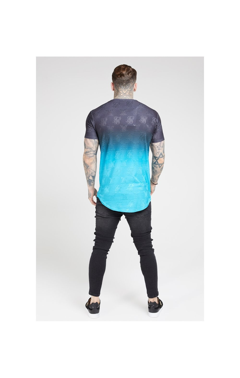 SikSilk Monogram Fade Gym Tee – Black & Teal (4)