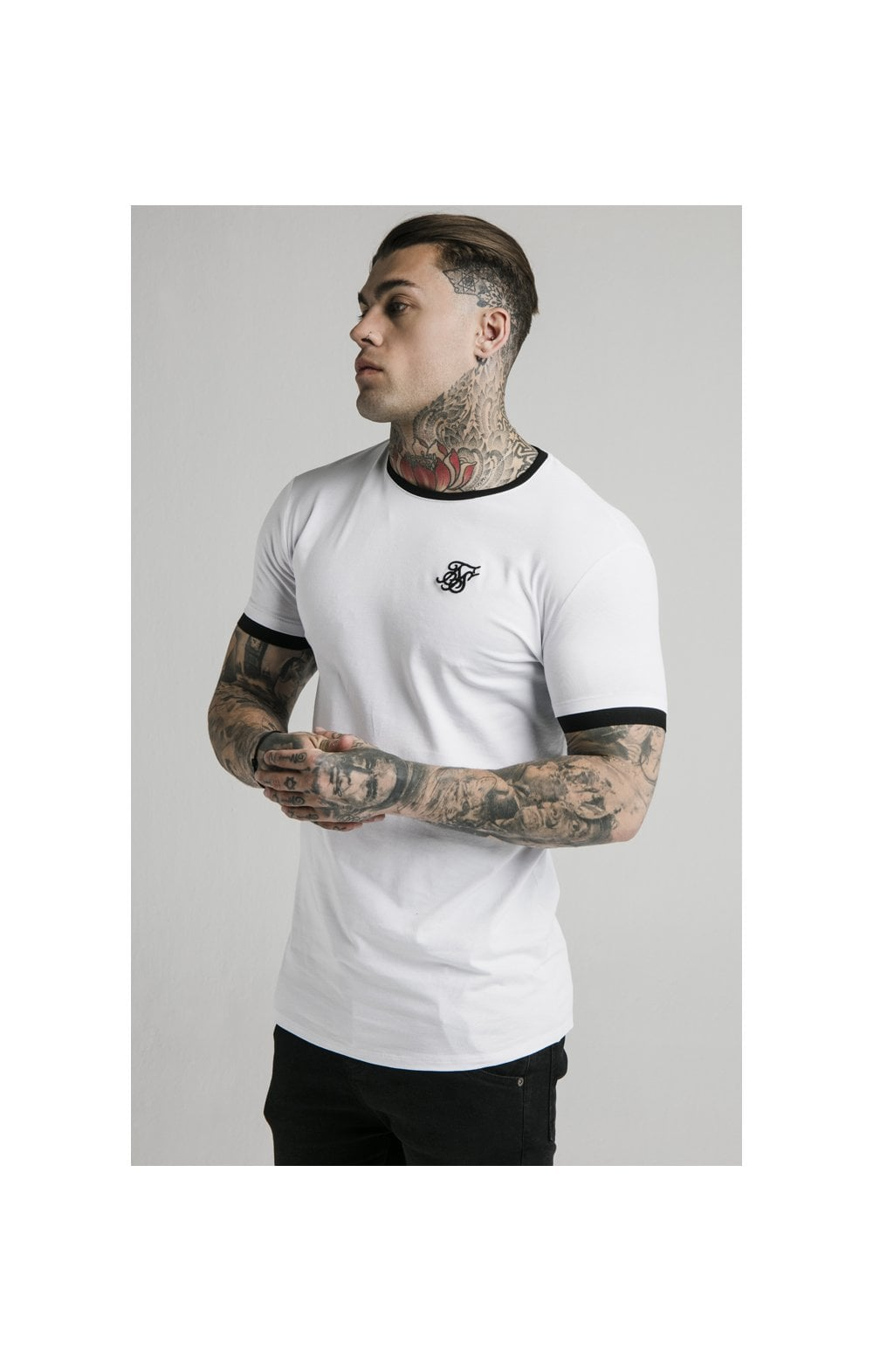 SikSilk S/S Inset Straight Hem Ringer Gym Tee – White