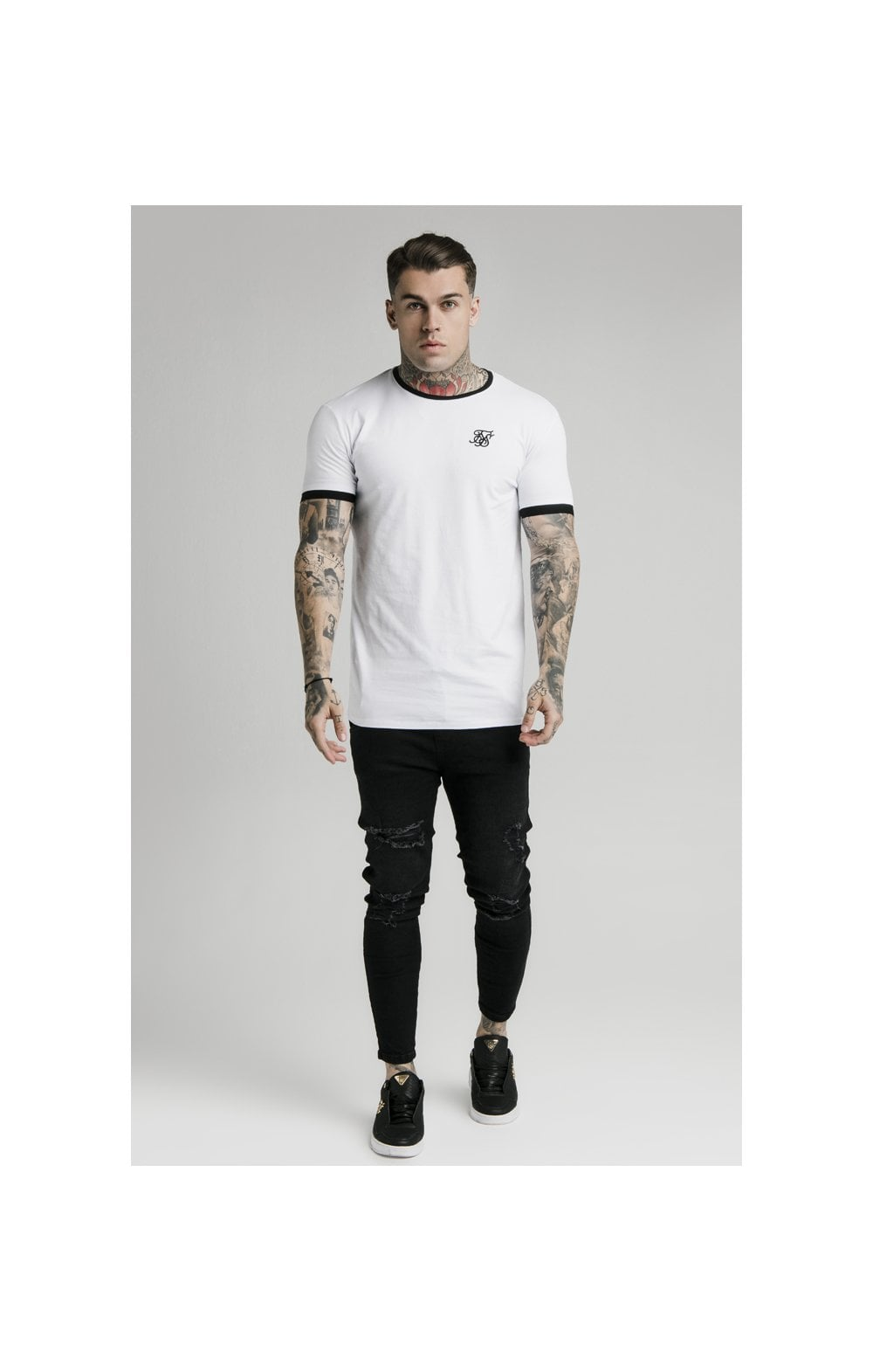 SikSilk S/S Inset Straight Hem Ringer Gym Tee – White (1)