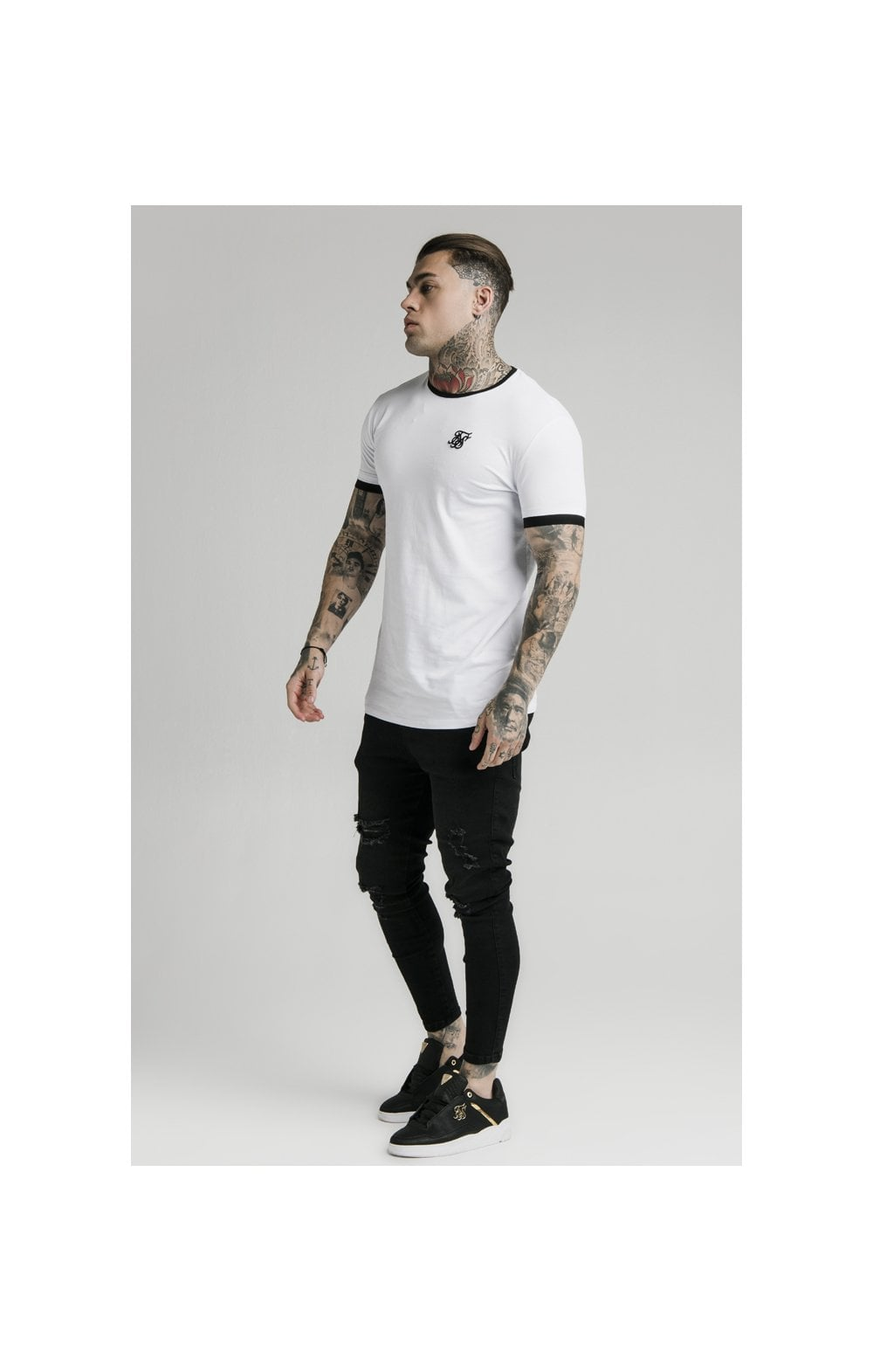 SikSilk S/S Inset Straight Hem Ringer Gym Tee – White (2)