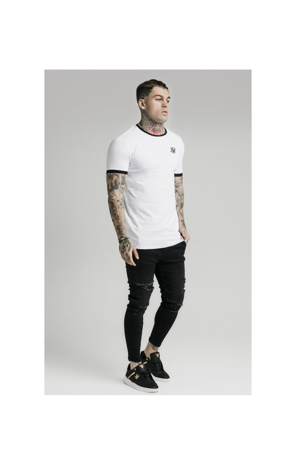 SikSilk S/S Inset Straight Hem Ringer Gym Tee – White (3)