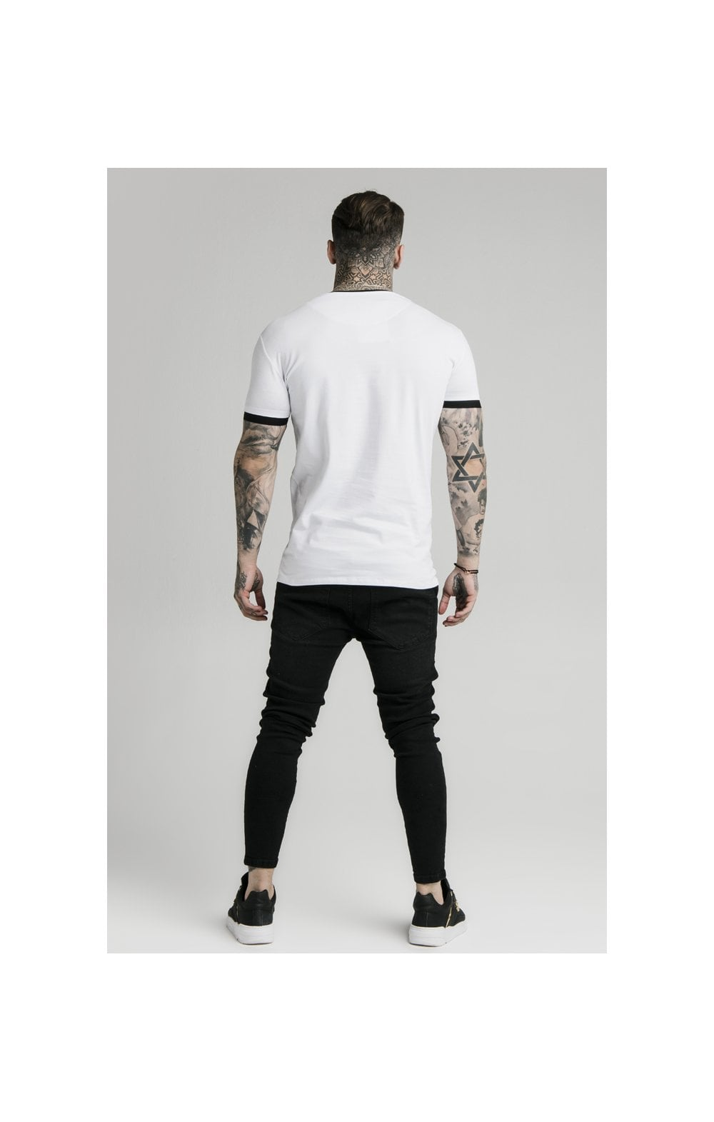 SikSilk S/S Inset Straight Hem Ringer Gym Tee – White (4)