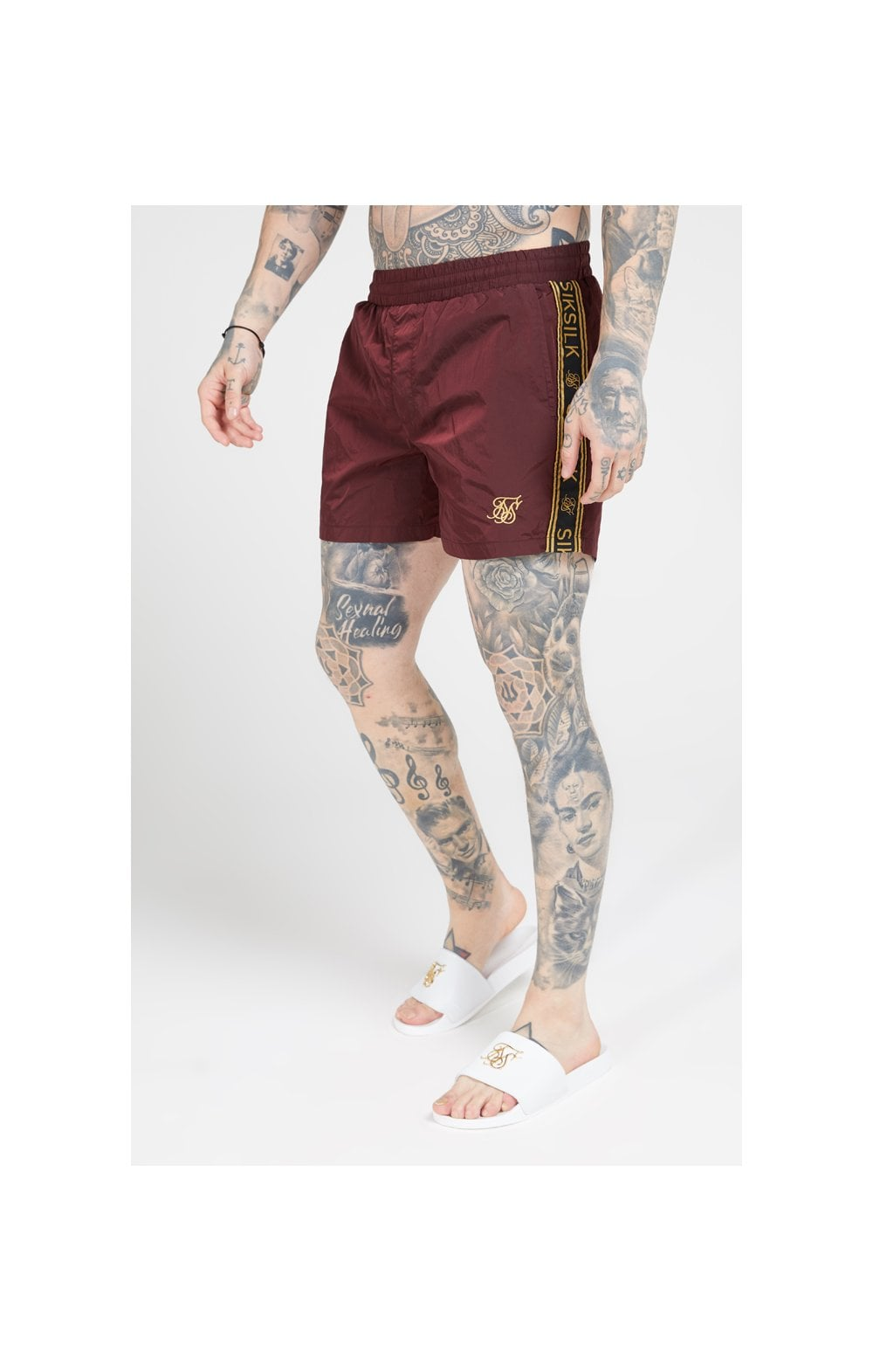 SikSilk Crushed Nylon Tape Shorts – Burgundy & Gold (1)