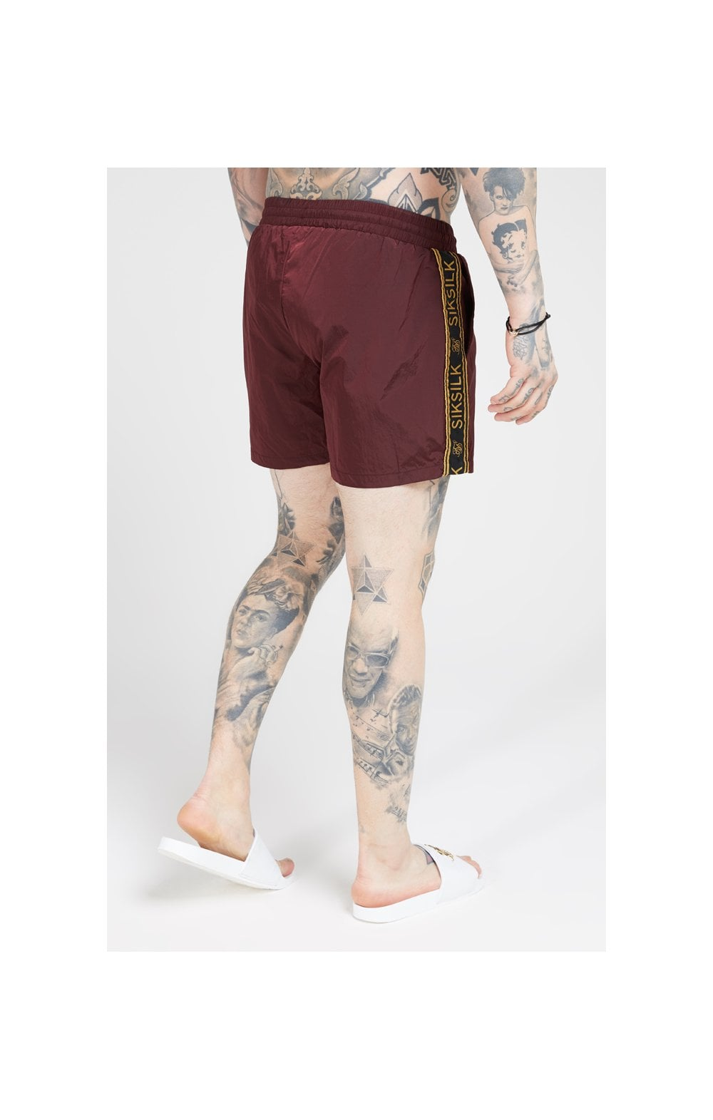 SikSilk Crushed Nylon Tape Shorts – Burgundy & Gold (4)