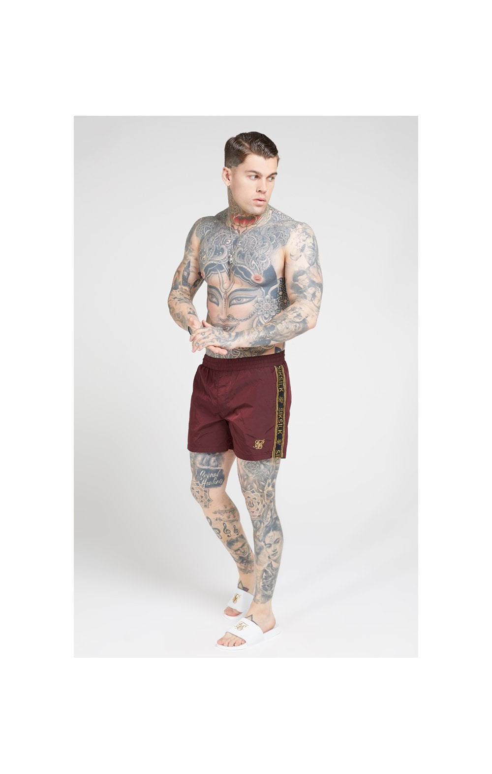 SikSilk Crushed Nylon Tape Shorts – Burgundy & Gold (2)