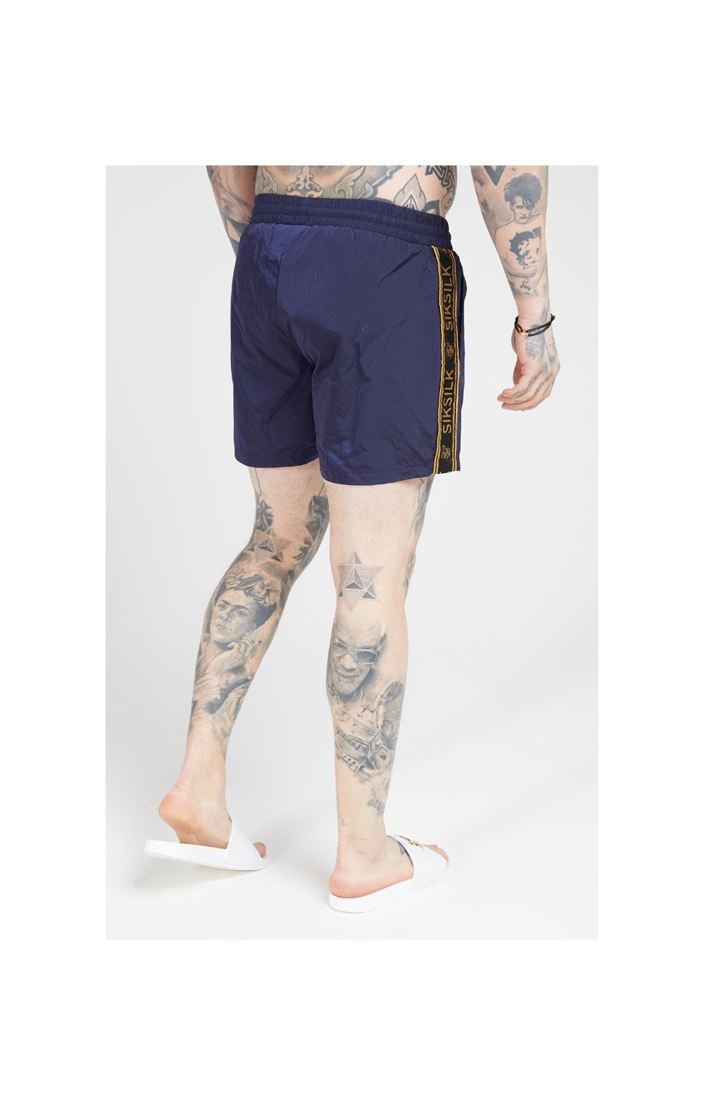Load image into Gallery viewer, SikSilk Crushed Nylon Tape Shorts – Navy & Gold (4)