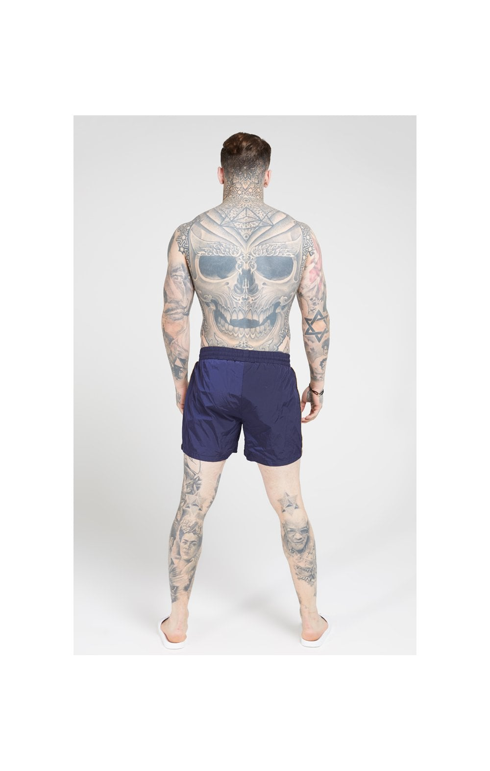 Load image into Gallery viewer, SikSilk Crushed Nylon Tape Shorts – Navy & Gold (3)