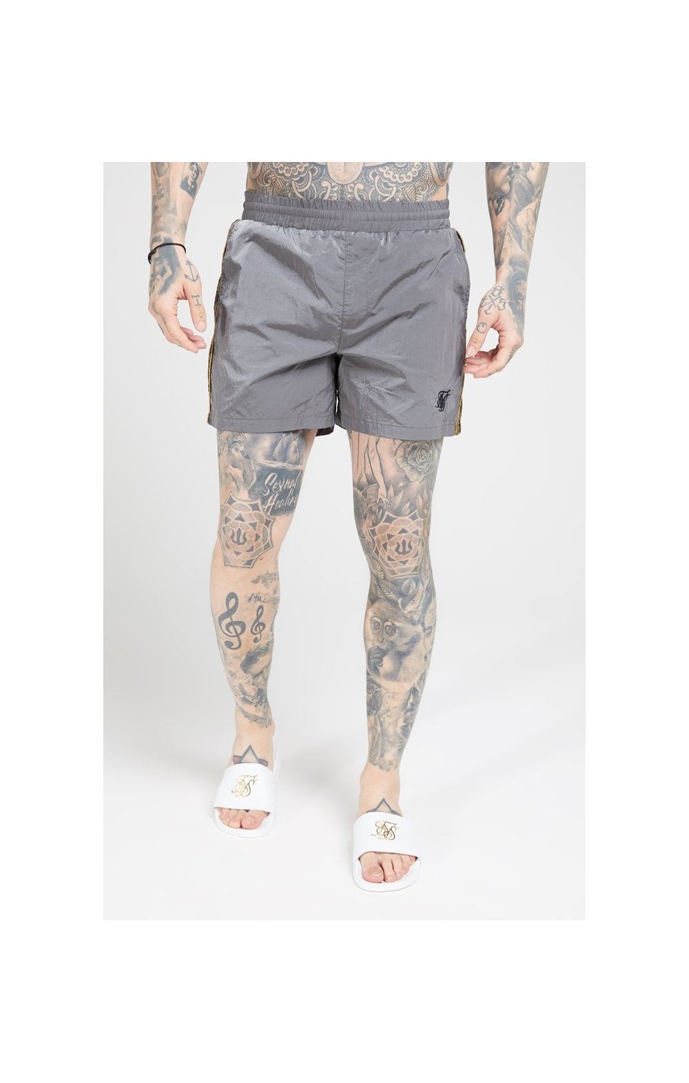 SikSilk Crushed Nylon Tape Shorts – Grey & Gold