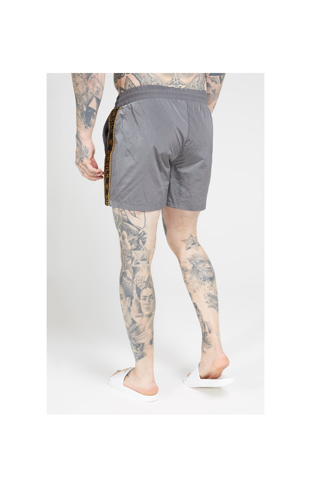 SikSilk Crushed Nylon Tape Shorts – Grey & Gold (4)