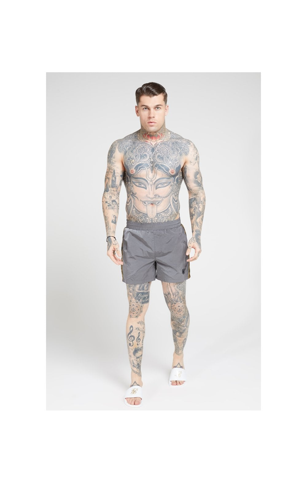 SikSilk Crushed Nylon Tape Shorts – Grey & Gold (2)