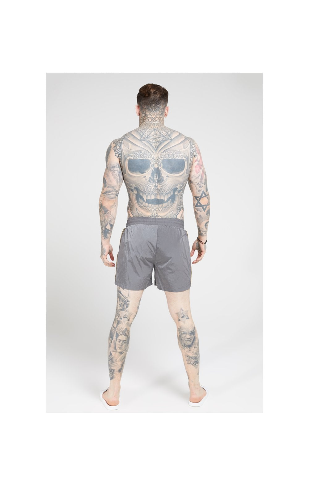 SikSilk Crushed Nylon Tape Shorts – Grey & Gold (3)