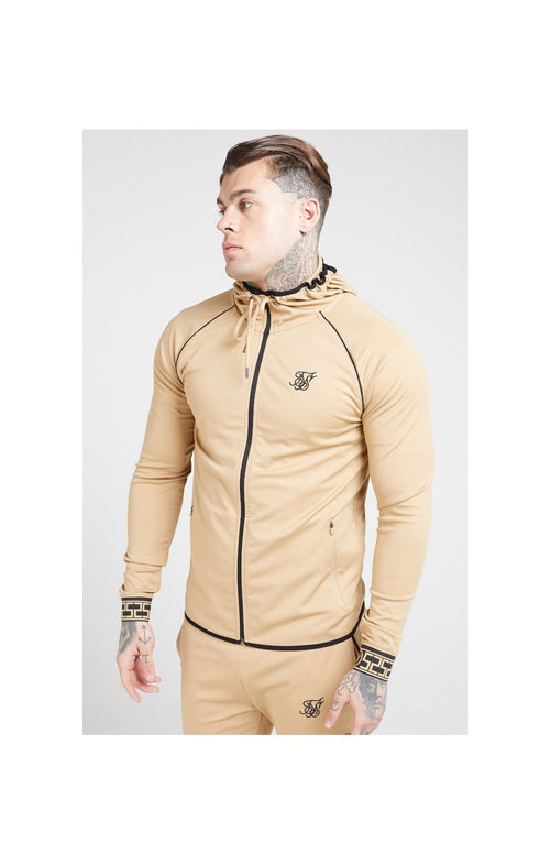 SikSilk Scope Zip Through Hoodie – Beige