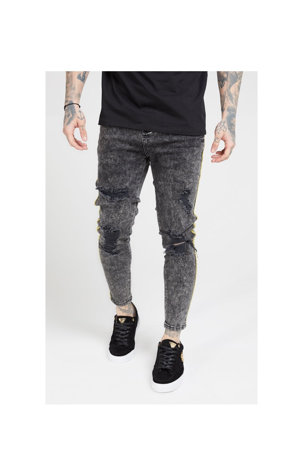 Load image into Gallery viewer, SikSilk Distressed Skinny Taped Denims - Faded Grey