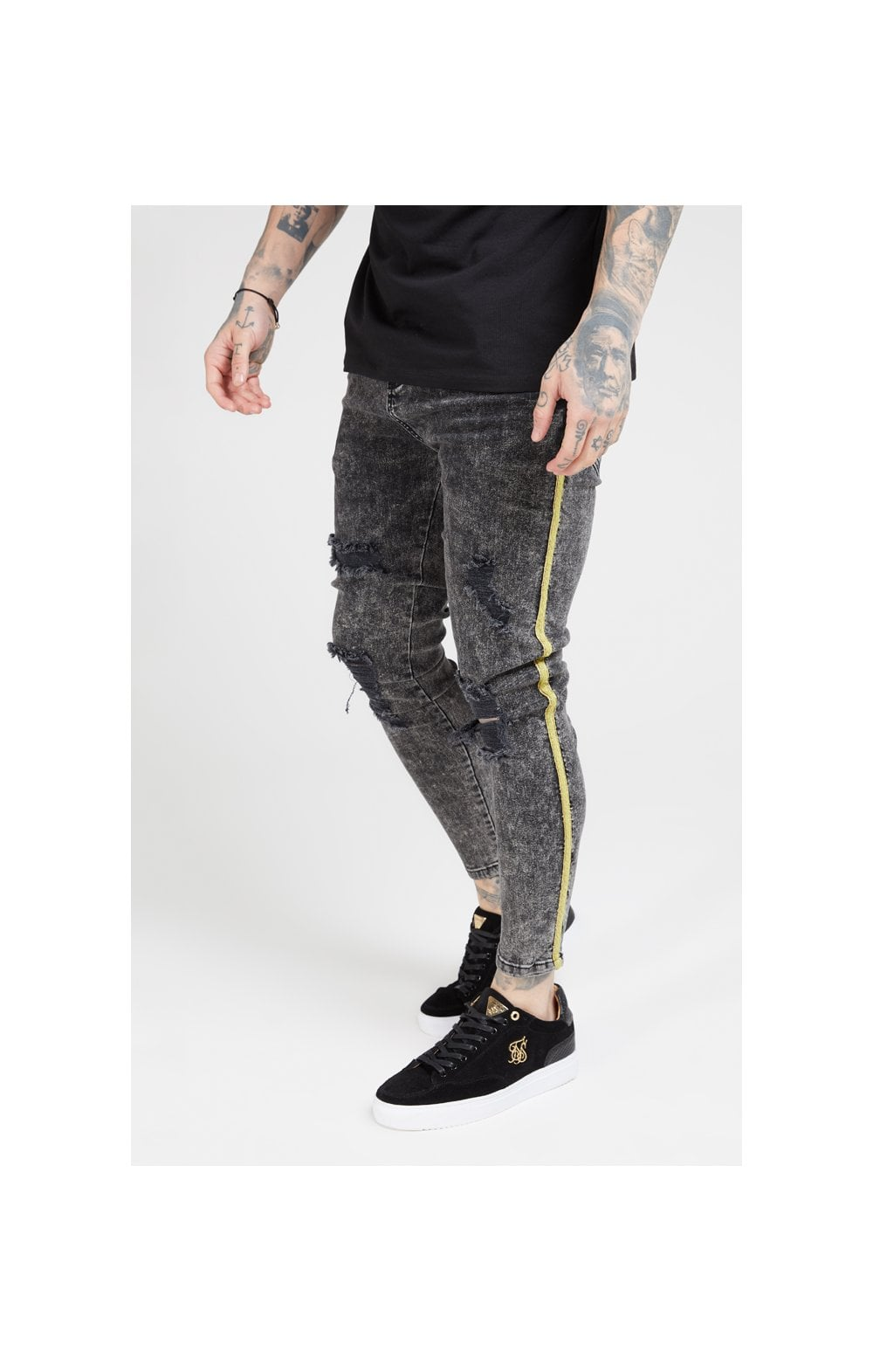 Load image into Gallery viewer, SikSilk Distressed Skinny Taped Denims - Faded Grey (1)