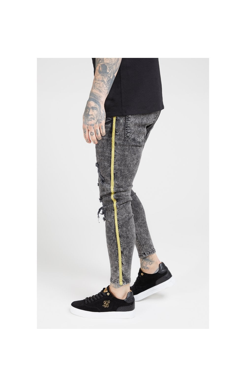 Load image into Gallery viewer, SikSilk Distressed Skinny Taped Denims - Faded Grey (3)
