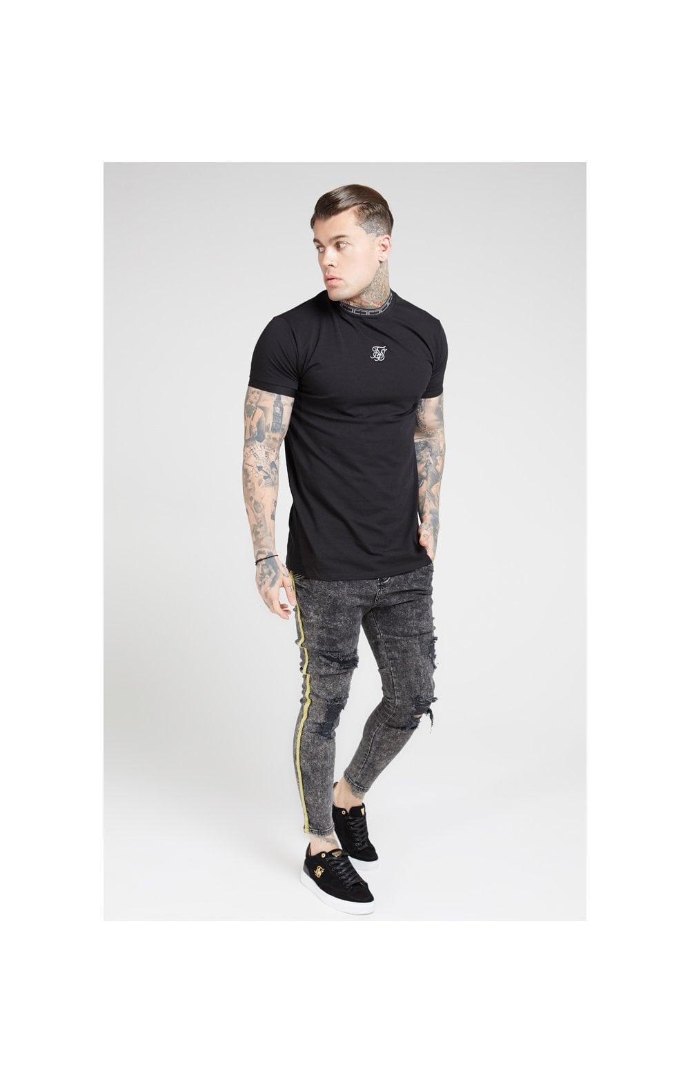 Load image into Gallery viewer, SikSilk Distressed Skinny Taped Denims - Faded Grey (4)
