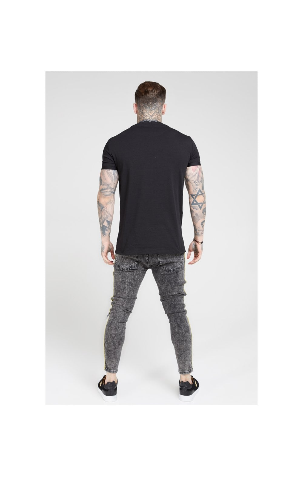 Load image into Gallery viewer, SikSilk Distressed Skinny Taped Denims - Faded Grey (5)