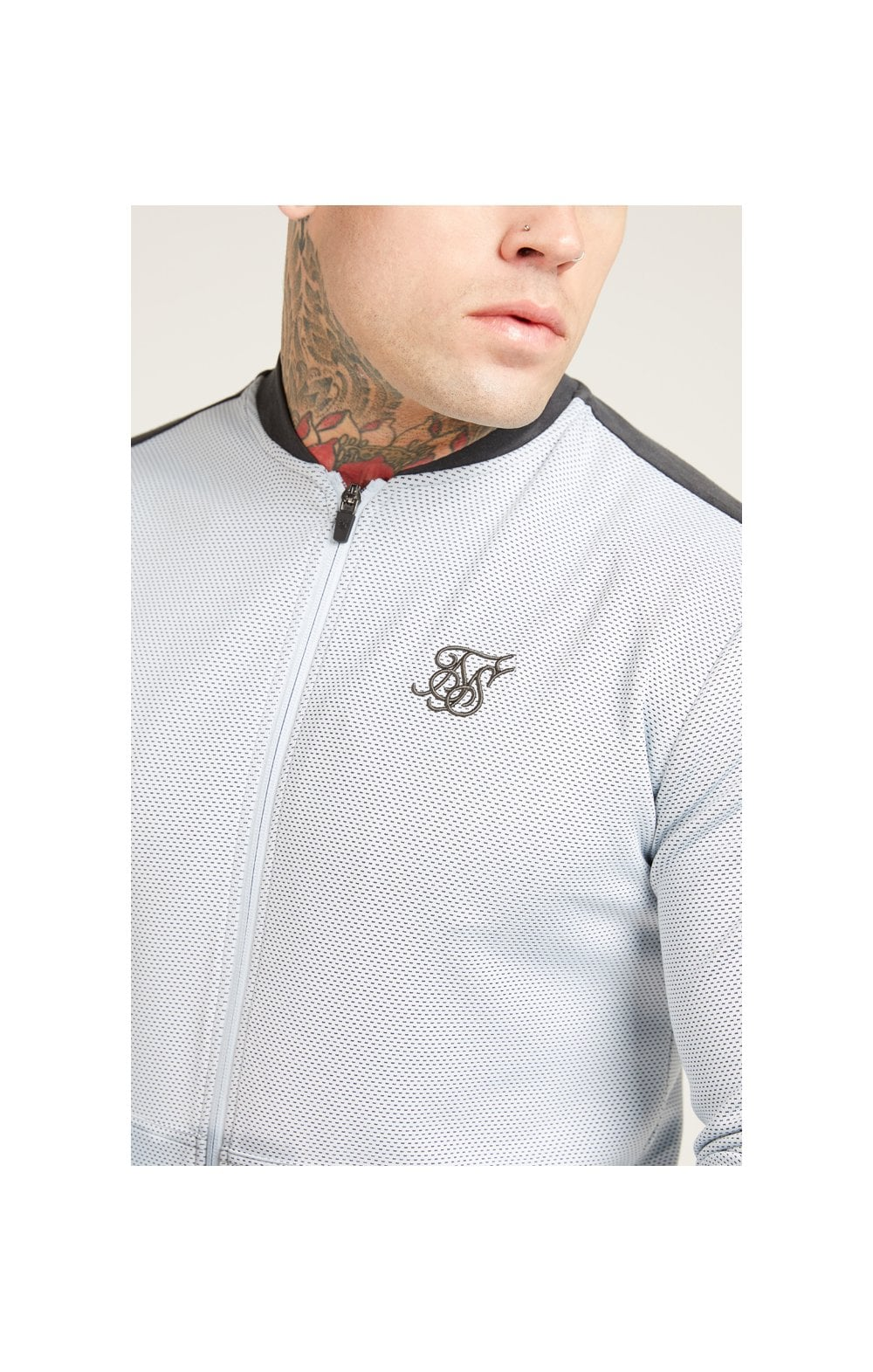 Load image into Gallery viewer, SikSilk Eyelet Poly Tape Bomber Jacket – Ice Grey & Charcoal