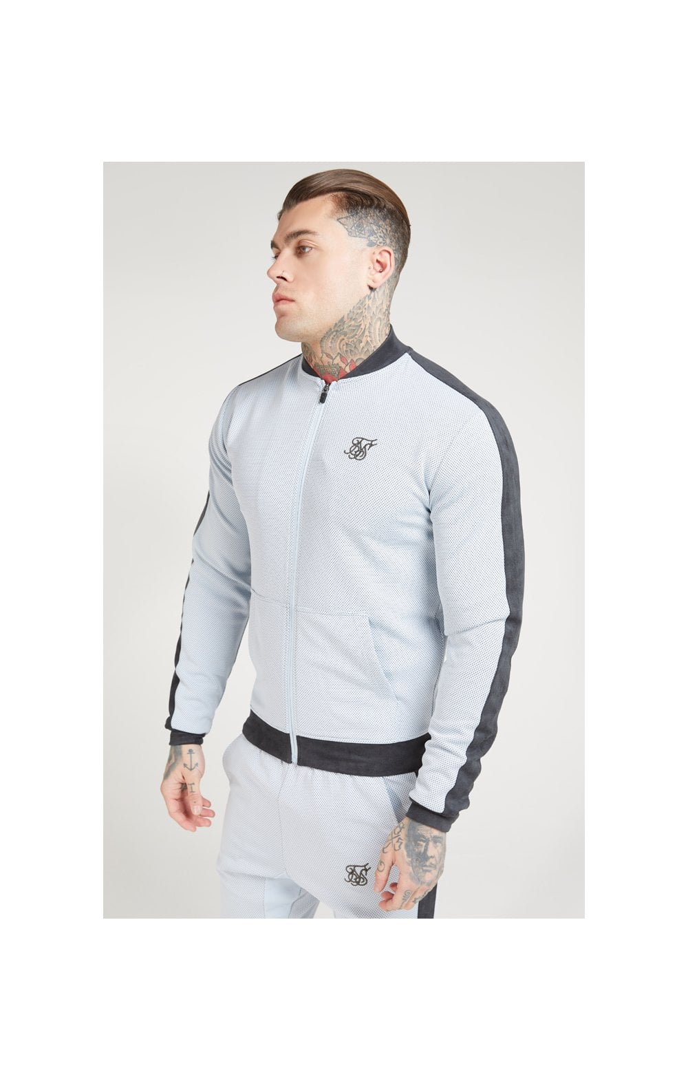 Load image into Gallery viewer, SikSilk Eyelet Poly Tape Bomber Jacket – Ice Grey & Charcoal (1)