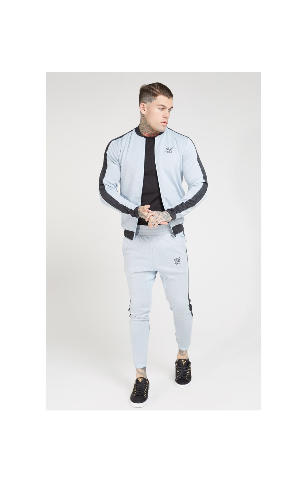 Load image into Gallery viewer, SikSilk Eyelet Poly Tape Bomber Jacket – Ice Grey & Charcoal (2)