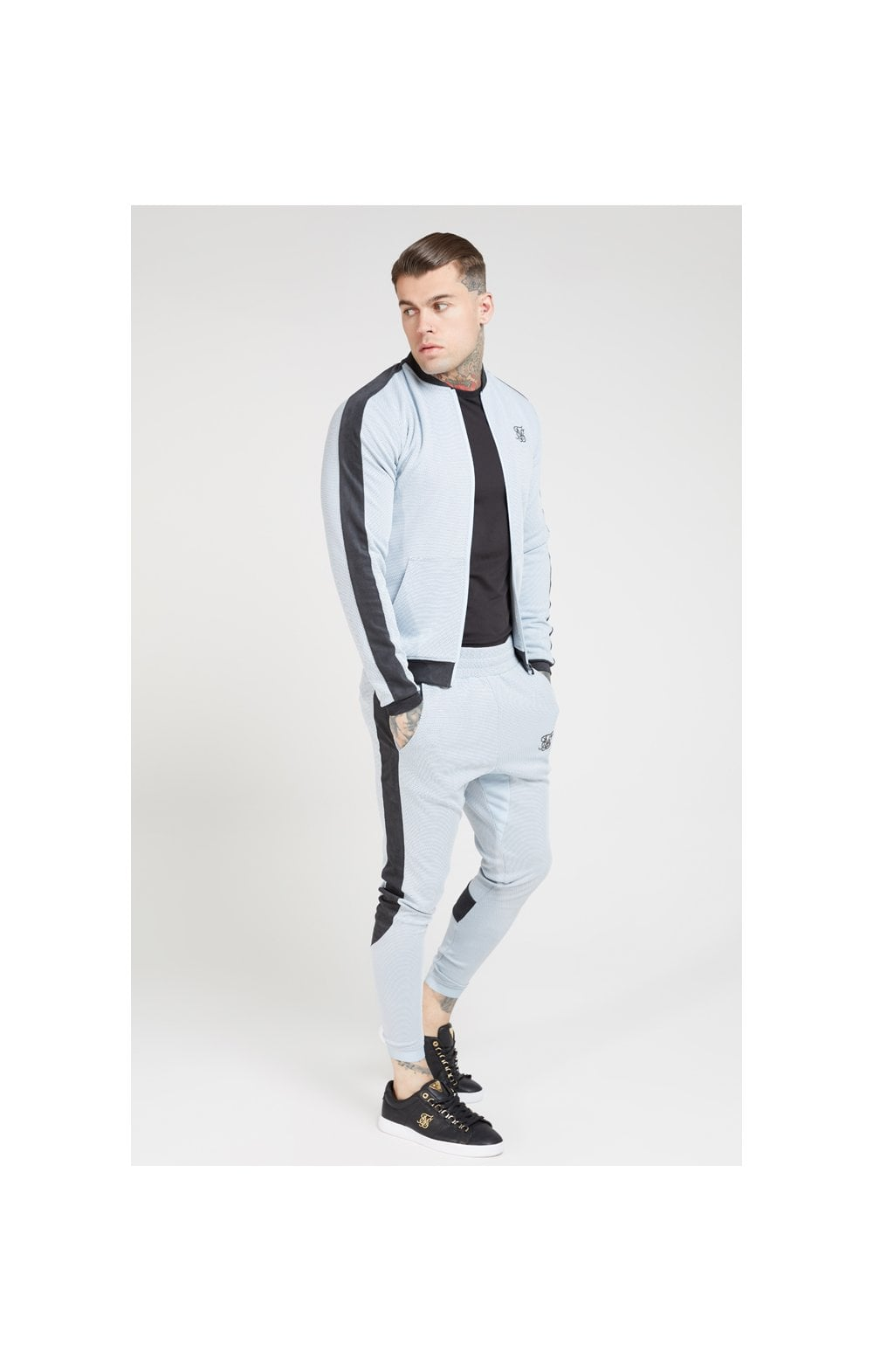 Load image into Gallery viewer, SikSilk Eyelet Poly Tape Bomber Jacket – Ice Grey & Charcoal (3)