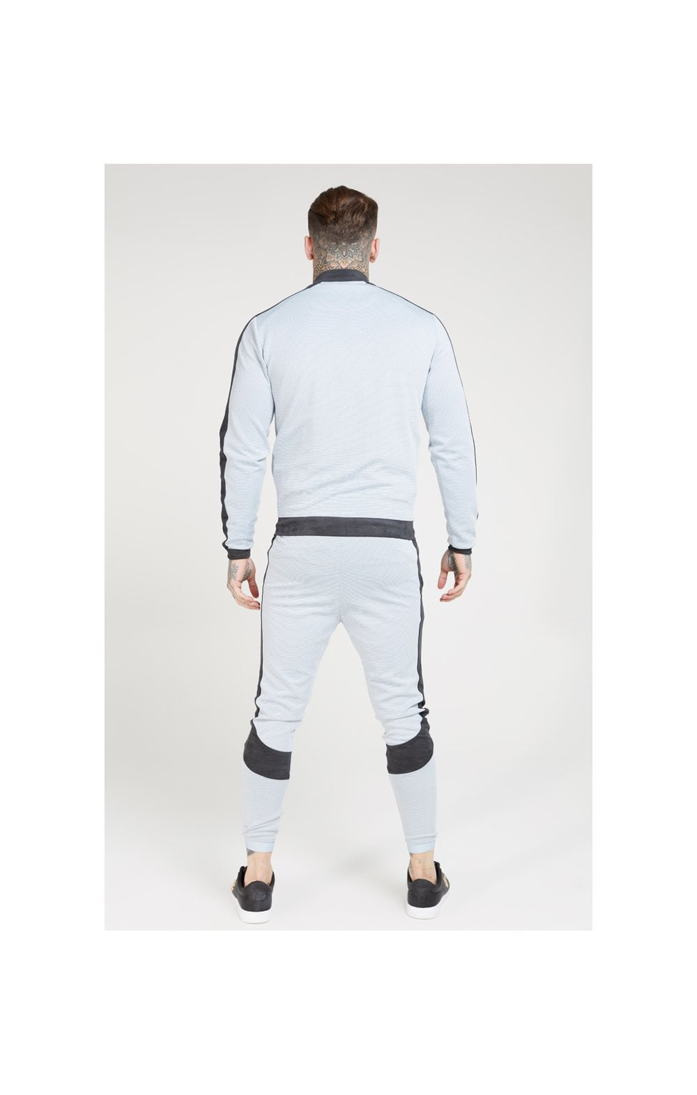 Load image into Gallery viewer, SikSilk Eyelet Poly Tape Bomber Jacket – Ice Grey & Charcoal (4)